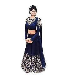 Krishna ECommerce Blue Color luxerious Embroidered Georgett Lehenga Choli (Se...
