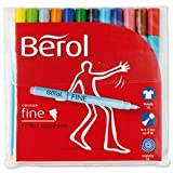 Brand New. Berol Colour Fine Pen with Washable Ink 0.6mm Line Assorted Ref S0376510 [Wallet 12]