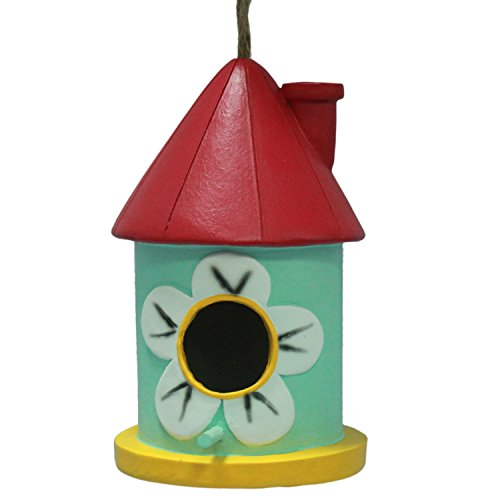 wildbird-care-pet-supplies-resin-bird-house-with-red-funnel-red-pale-green