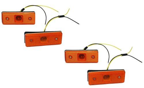 Aerzetix: Jeu de 4 Feux de gabarit position lumière Orange 12V à 4 LED CZ pour utilitaire caravane - C2004