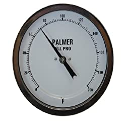Palmer 5AP60/250F All Pro Welded Stainless Steel 304 Bimetal Thermometer, 0/250 F Range, 5\