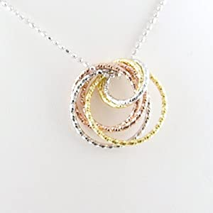 Tri-Color Rose, Yellow Gold Plated Rings Sterling Silver Diamond Cut Ball Nickel Free Chain Necklace Italy 18 Inch