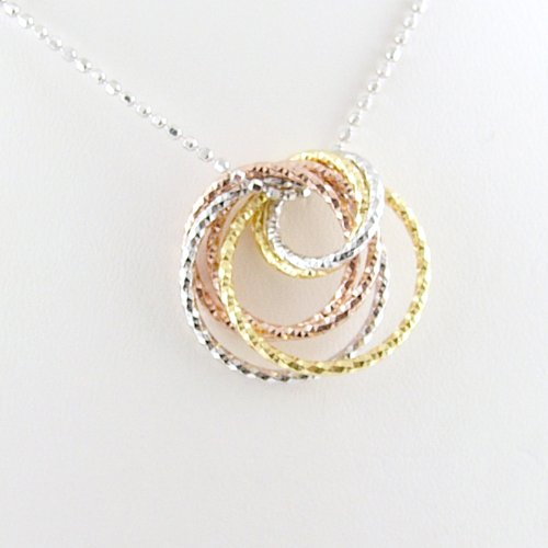 Tri-Color Gold Plated Rings Sterling Silver Diamond Cut Ball Nickel Free Chain Necklace Italy 18 Inch
