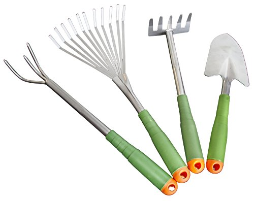 4 Piece Garden Hand Tool Set Extra Long Lightweight – EZ on Your Back Ergonomic Design & Storage Box