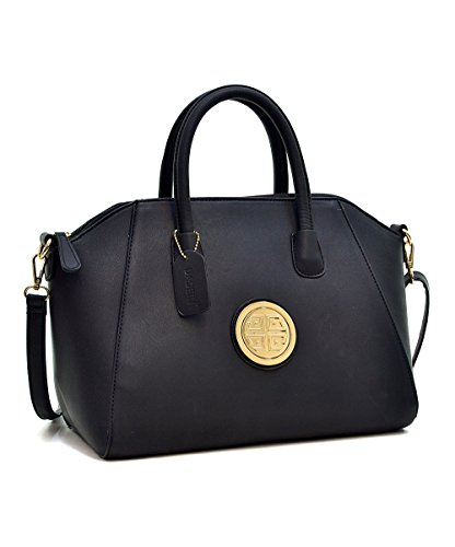 ladies-designer-black-satchel-winged-tote-handbag-classic-shoulder-bag