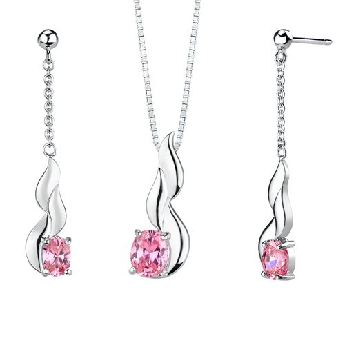 Revoni Oval Shape Pink Cubic Zirconia Pendant Earrings Set in Sterling Silver