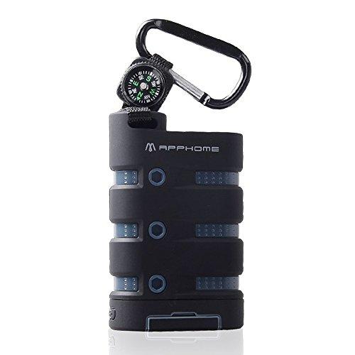 APPHOME ブラック 10000mAh 大容量モバイルバッテリー コンパス/フック付き LEDライト搭載キャンプと遠足に最適 防水/防塵/防震(USB port 1ポート、Micro USB 1ポート)英語説明書/USB ケーブル付き APPHOME 並行輸入品