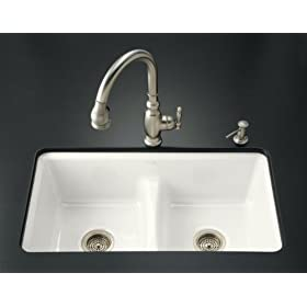 KOHLER K-5838-7U-0 Deerfield Smart Divide Undercounter Kitchen Sink, White