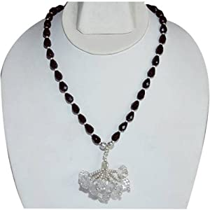 Necklace for Women Sterling Silver Black Onyx Gemstone Jewelry 16.5 Inches