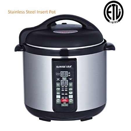 This pressure cooker includes a removable and durable stainless steel cooking pot; stainless steel outer body with cool touch handles; stainless steel self-locking lid with rubber gasket, floating valve, anti-blocking case, pressure safety valve, pre...