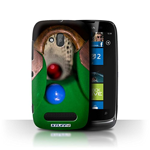 Stuff4 Hülle / Hülle für Nokia Lumia 610 / Blaue Kugel/Rack/Rosa Muster / Snooker Kollektion