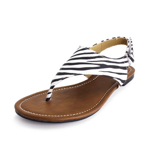 Generation19Floral T-Strap Gladiator Thong Sandals Womens Zebra 11 back-1075214