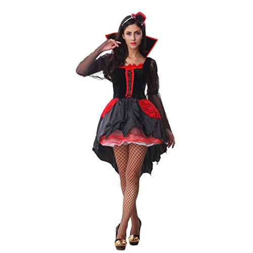 Ladies Midnight Vamp Halloween Fancy Dress Gothic Vampire Costume