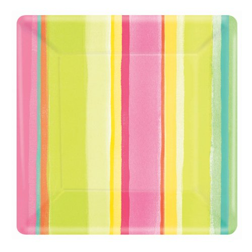 "Amscam 8 Count Sunny Stripe Pink Square Plate, 10"", Multicolor"