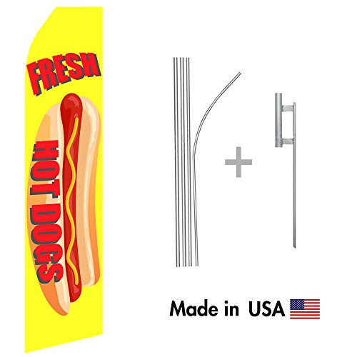 Fresh Hot Dogs Econo Flag | 16ft Aluminum Advertising Swooper Flag Kit with Hardware (Hot Dog Feather Flags compare prices)