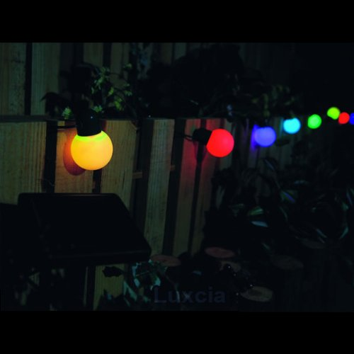 Solar Colour Coloured Party Light String Festive Ball Balls For Garden Patio Party Decoration Decorative Red Green Blue x 12