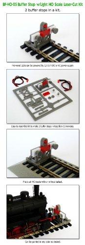 2 X HO 1:87 Scale Laser-Cut Buffer Stop Kit w/Light
