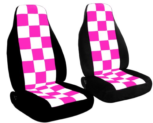 2 Black seat covers with White and Hot Pink Checkers for a 2006 to 2009 Chevrolet Equinox. 2 black and tan checkered seat covers for a 2010 to 2013 chevrolet equinox side airbag friendly