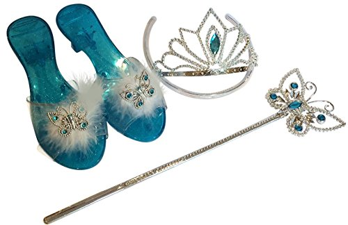 Cinderella Butterfly Shoes, Tiara and Wand 3 Piece Dress Up Set