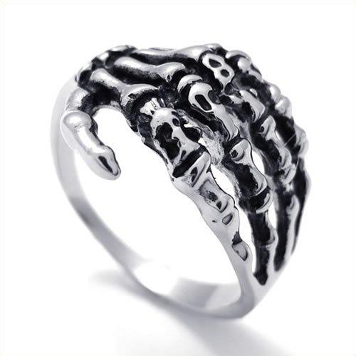 KONOV Jewelry Mens Biker Vintage Gothic Stainless Steel Skull Skeleton Ring, Black Silver (Available in Sizes 8 - 13) - Size 12