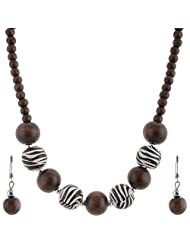 Mask Fashions Silver Metal Black And Brown Beads Necklace For Women