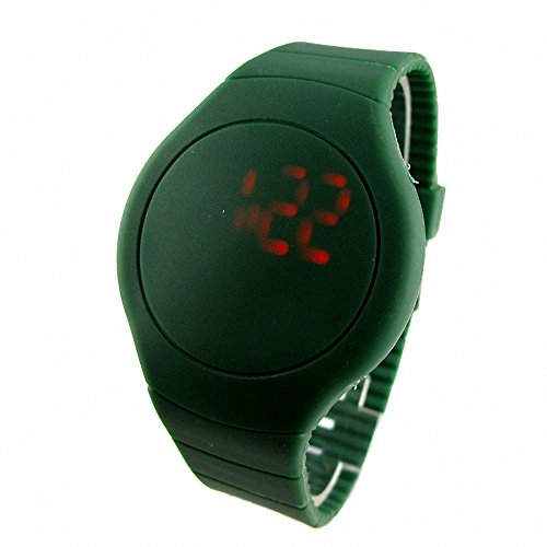 Youyoupifa Wholesale 5Pcs/Lot Round Touch Screen Red Digital Light Unisex Plastic Led Watch (Dark Green)