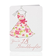 Floral Dress 18 Granddaughter Birthday Card