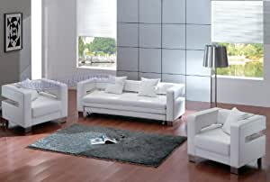 Modern White Leather Sofa (Sleeper) with Two Chairs Set