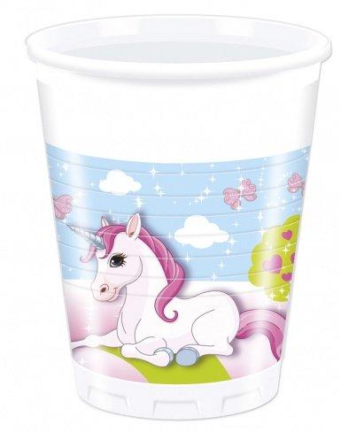 8-Gobelets-en-plastique-Licorne-200-ml