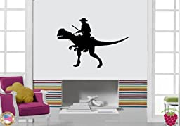 Wall Stickers Cowboy Riding Dinosaur Uncommon Decor for Your Place