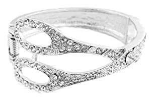 Ladies Silver Iced Out Scissor Shape Bangle Bracelet