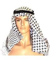 AUTHENTIC Black & White Middle Eastern Arab Kafiya Keffiyeh with Aqel Rope