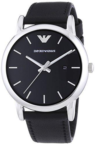 Emporio Armani  0 - Reloj de cuarzo para hombre, con correa de cuero, color negro
