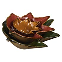 Grasslands Road Home Again Ceramic Leaf Shape Nested Ceramic Bowls Set of 3