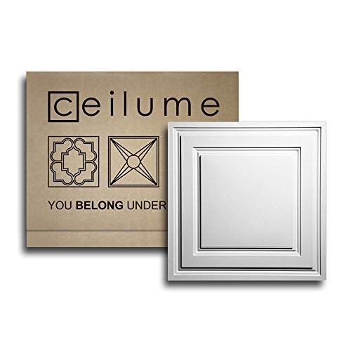 10 pc - Ceilume® Stratford White Feather-Light 2x2 Lay In Ceiling Tiles - For Use In 1