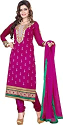 Cool women's Georgette Embroderied Unstitched Dress Material -1022_Pink_Freesize