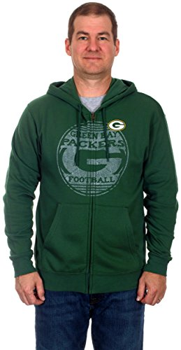 Green Bay Packers Men's Zip-Up Fleece Hoodie (Small) (Green Bay Packers Quad Chair compare prices)