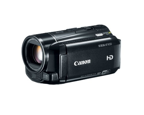 Canon 6094B001 VIXIA HF M50 Full HD 10x Image Stabilized Camcorder Wi-Fi Enabled with 8GB Internal Drive Dual SDXC Card Slots and 3.0-inch Touch LCD (Black)