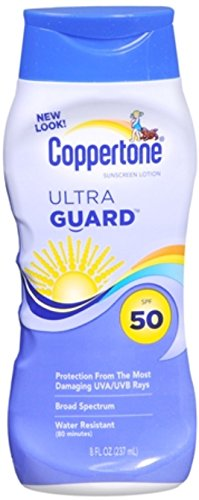 Coppertone Sunscreen Lotion with Avobenzone, 50 SPF, 8 fl oz (236 ml) (Pack of 2)