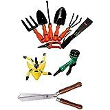 Ketsy 783 Gardening Tool Kit - Set Of 10(Trowel,Weeder,Transplantor,Cultivator,Khurpa,Fork,Pruning Shear,sprinkler...