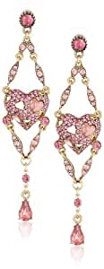 "Betsey Johnson ""Iconic Pinkalicious"" Heart Chandelier Drop Earrings"