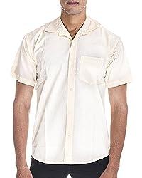 Venga Men's Button Front Shirt (RH005, Yellow, XL)