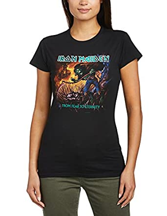 Rock Off Women's Iron Maiden From Fear to Eternity Album Slim Fit Short Sleeve T-Shirt, Black, Size 8 (Manufacturer Size:Small)