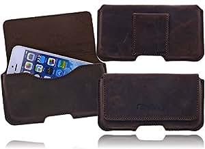 Burkley Premium Antik Leder Tasche Etui Holster für das Samsung Galaxy S5 Handytasche Schutzhülle Gürteltasche - mit Gürtel Schlaufe - Magnetverschluss - Ultra Slim - Echtes Rustik Leder - Top Qualität in antik braun / brown