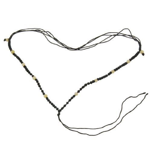 Rosallini 5 Pcs Black Nylon Braids Yellow Plastic Beads No Pendant Necklace String Chain