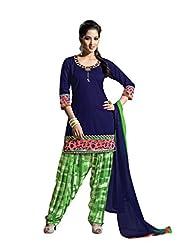 Ritu Creation Women's New Cotton Stitched Fancy Chiffon Patyala Suit With Embroided (Blue)