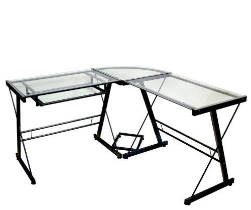 "Buy Low Price Comfortable L-Shaped Computer Desk with ""X"" Design in Black Finish (B000WQTLWA)"