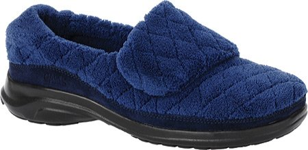 Oasis Women's Terry Slippers, Navy, 9 W/D-E
