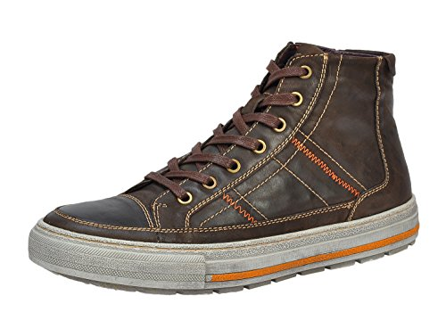 Rusway Mens Fashion Stylish Retro Genuine Leather High Top Round Toe Lace Up Flat Board Shoes(11 D(M) US, Coffee)
