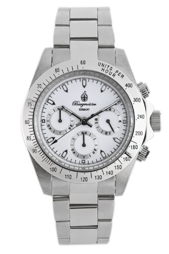 Burgmeister Houston Bm212-182 Gents Chronograph  Stainless Steel Bracelet White Dial 24H Tachymeter